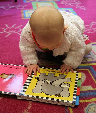 Baby looking at picture of elephant in board book