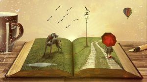 Book is open to reveal a scene with grass, a path, lamp post, dog, and girl with red umbrella