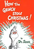 "This is the cover for the picture book HOW THE GRINCH STOLE CHRISTMAS by Dr. SEUSS. It shows a picture of the Grinch inside a white ""lightning ball"" graphic against an orange background."