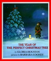 This is the cover for a picture book called THE YEAR OF THE PERFECT CHRISTMAS TREE. It's a night scene, lit by a full moon in the upper right corner and a lantern on the snowy ground in the center of the scene. A snow-covered evergreen tree stands on the left, and on the right is a little girl wearing a long skirt, boots, a hand-knit scarf, a woolen hat, and a brown winter coat. She is carrying an axe.