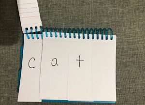 "A phonics flip book showing the word ""cat."""