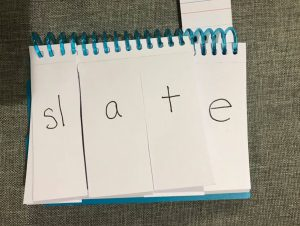 "A page from a phonics flip book showing the word ""slate."""
