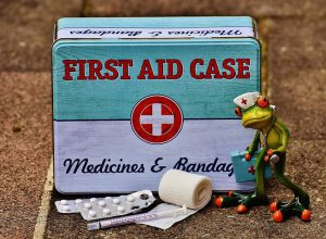 toy frog with medical supplies in front of a first-aid box
