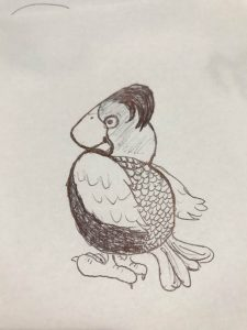 The picture drawn from the re-oriented scribble is a bird with a crest